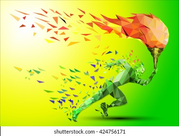 Torch, Flame. runner with a torch on a green background in the geometric style triangle