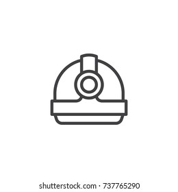 Torch helmet line icon, outline vector sign, linear style pictogram isolated on white. Symbol, logo illustration. Editable stroke