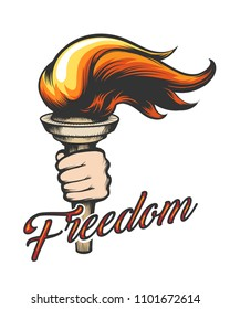 Torch in Human Hand and wording Freedom drawn in tattoo style. Vector Illustration.