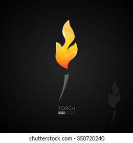 Torch icon. Burning torch in black background.