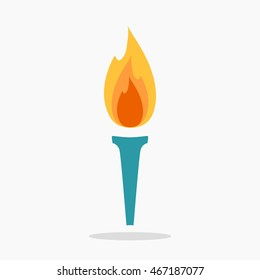Torch icon isolated on white background. Fire. Symbol of Olympic games. Flambeau logo in flat style. Cresset sign. Flaming figure. Vector illustration.