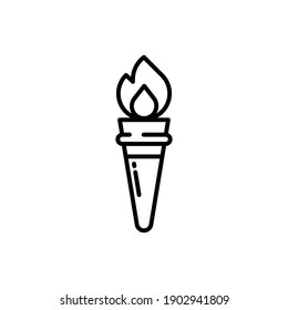 Torch Line Icon Isolated On White Background
