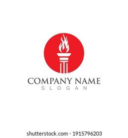 torch logo and symbol vector  design