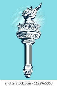 Torch of the Statue of Liberty, vector illustration.