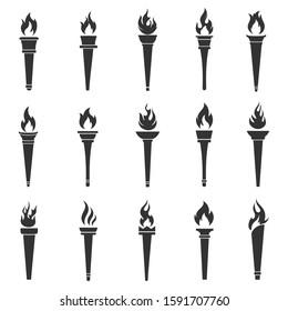 Torch vector icon set illustration design template