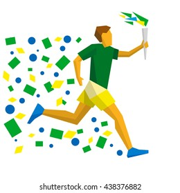 Torchbearer in the colors of the Brazilian flag. Athlete isolated on white background. International sport games infographic.