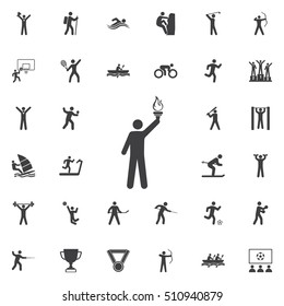 Torchbearer icon Vector Illustration on the white background. Sport icons universal set for web and mobile
