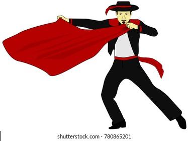 the toreador in black costume