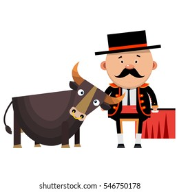 Toreador with the bull. Spanish bullfighting. Vector illustration isolated on white background.