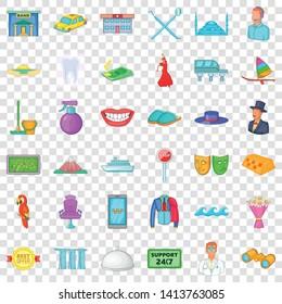 Toreador icons set. Cartoon style of 36 toreador vector icons for web for any design