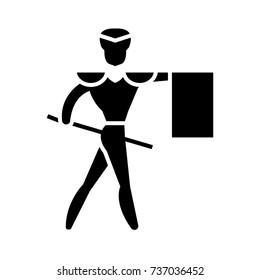 toreador - matador icon, vector illustration, black sign on isolated background