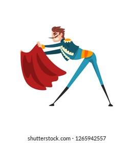 Toreador with red cape, bullfighting, corrida performance vector Illustration on a white background