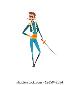 Toreador with sword, bullfighting, corrida performance vector Illustration on a white background