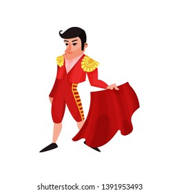Toreador in traditional red costume. Vector illustration on white background.