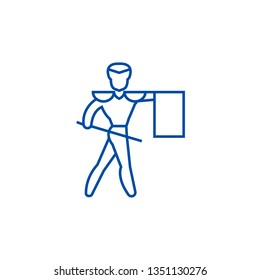Toreador,matador line icon concept. Toreador,matador flat  vector symbol, sign, outline illustration.