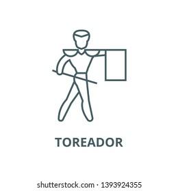 Toreador,matador vector line icon, linear concept, outline sign, symbol