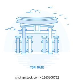 TORI GATE Blue Landmark. Creative background and Poster Template