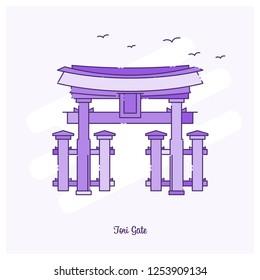 TORI GATE Landmark Purple Dotted Line skyline vector illustration