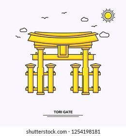 TORI GATE Monument Poster Template. World Travel Yellow illustration Background in Line Style with beauture nature Scene