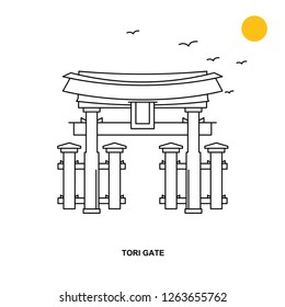 TORI GATE Monument. World Travel Natural illustration Background in Line Style