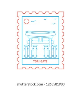 TORI GATE postage stamp Blue and red Line Style, vector illustration