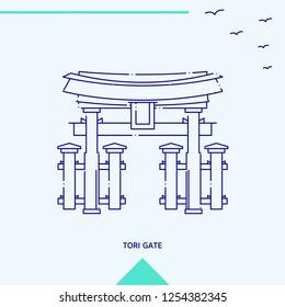 TORI GATE skyline vector illustration