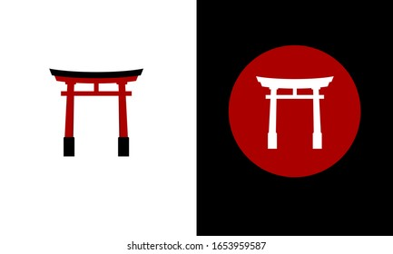 Tori Japanese traditional gate structure. Isolated vector illustration.