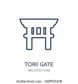 Torii gate icon. Torii gate linear symbol design from Architecture collection. Simple outline element vector illustration on white background.