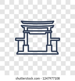 Torii gate icon. Trendy linear Torii gate logo concept on transparent background from Architecture and Travel collection