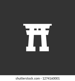 torii gate icon vector. torii gate vector graphic illustration