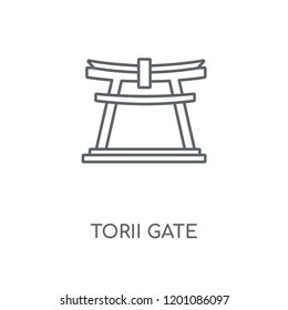 Torii gate linear icon. Torii gate concept stroke symbol design. Thin graphic elements vector illustration, outline pattern on a white background, eps 10.