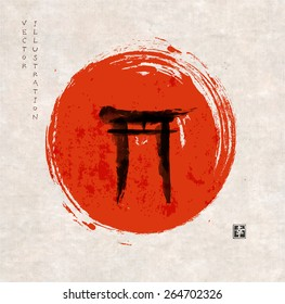 """Torii gates hand-drawn with ink in traditional Japanese style sumi-e on vintage rice paper. Sealed with hieroglyph """"happiness"""""""