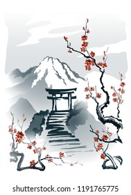 Torii gates on a rock Stairs to the gates of Torii on top of the mountain. Vector drawing in traditional Japanese style Sumi-e. EPS-10.