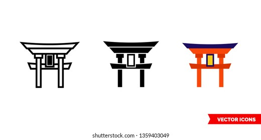 Torii icon of 3 types: color, black and white, outline. Isolated vector sign symbol.