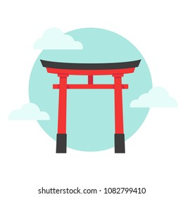 Torii, traditional red Japanese gate on blue sky background with clouds. Simple flat cartoon vector illustration.