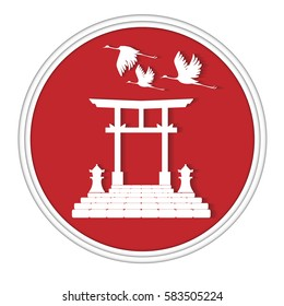 Torii,a traditional Japanese gate with cranes bird.Paper cut style.Vector illustration.