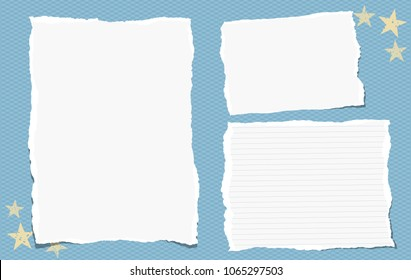 Torn blank and lined note, notebook paper pieces for text stuck on blue square background. Vector illustration.