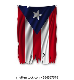 Torn by the wind national flag of Puerto rico. Ragged. The wavy fabric on white background. Realistic vector illustration.