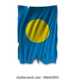 Torn by the wind national flag of Palau. Ragged. The wavy fabric on white background. Realistic vector illustration.