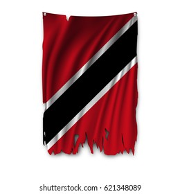 Torn by the wind national flag of Trinidad and Tobago. Ragged. The wavy fabric on white background. Realistic vector illustration.