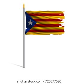 Torn by the wind Nationalistic flag of Catalonia. Region of Spain. Ragged. The wavy fabric on white background. Realistic vector illustration.