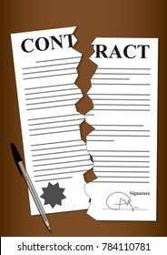 Torn Contract Forms Paper Signed and Sealed Written in Black and White on Brown Background