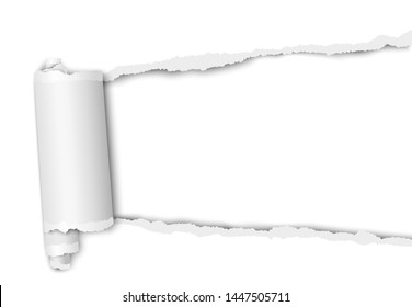 Torn elongated hole from right to left side in white sheet of paper with wrapped paper tear. Vector template design. Paper mockup.