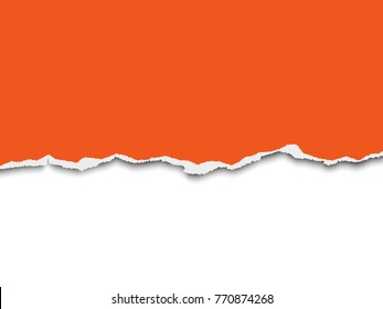 Torn a half sheet of orange paper from the bottom on white background. Vector template paper design.