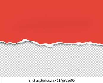 Torn a half sheet of red paper from the bottom. Vector template paper design.