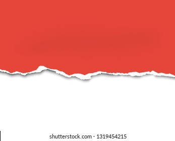 Torn a half sheet of red paper from the bottom. Vector template paper design. White background under it.