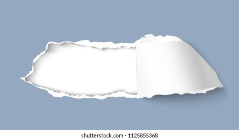 Torn hole paper isolated on white background. Paper effect for web, promo and sale design. Realistic vector illustration of papers with hole