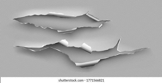 Torn hole, ragged crack in steel sheet. Vector realistic mockup of ripped edges of metal break isolated on transparent background. Damaged metallic page from cut or explosion