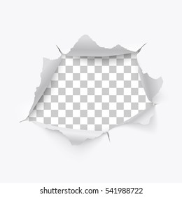 Torn hole and ripped of paper on a transparent background, vector art and illustration.