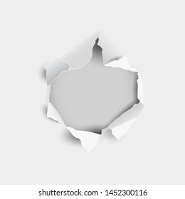 Torn hole and ripped in sheet paper on a gray background, 3d realistic style. Not using gradient mesh. Vector illustration